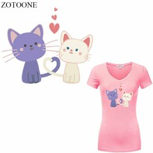 ZOTOONE Lovely Cat Patch Heat Transfer Vinyl Sticker for Girl Clothes DIY T-shirt Dresses Heart Patches Applique Thermal Press