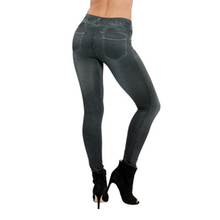 Spring Autumn Women Leggings Jeans With Pocket High Waist Slim Fitness Leggins