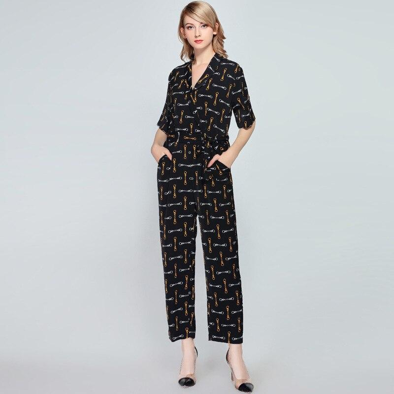 Combinaisons pour femmes 2019 printemps et été nouveau lâche col en v mode imprimé dames barboteuse à manches courtes combinaison longue - 3