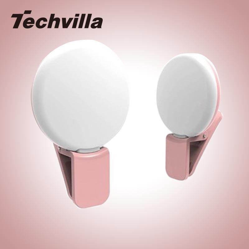 techvilla  Portable Round Mini Camera Selfie Picture Photo Fill Light Lamp LED Clip For iphone samsung LG Mobile phone