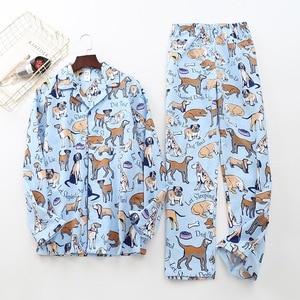 Image 3 - Cute white bear 100% brushed cotton men pajama sets Autumn Casual fashion animal sleepwear men homewear sexy pijamas mujer
