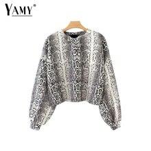 Cropped oversized hoodies women animal snake print sweatshirts long sleeve pullovers korean crop top hoodie streetwear