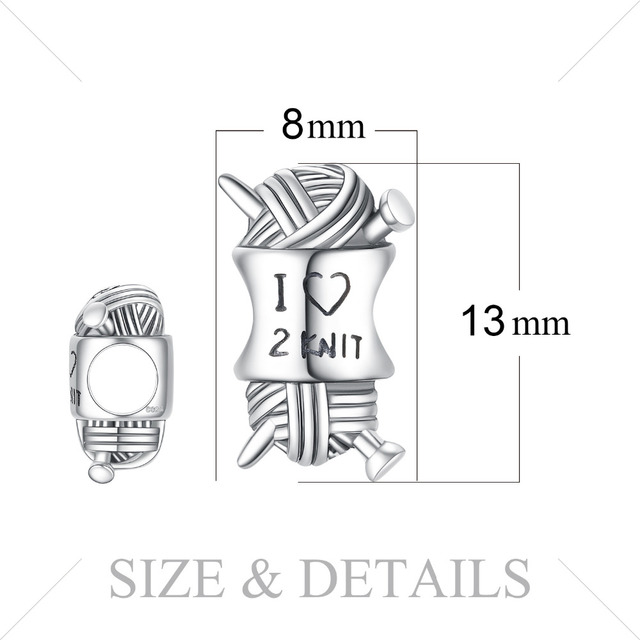 JewelryPalace Love Knit 925 Sterling Silver Beads Charms Silver 925 Original For Bracelet Silver 925 original For Jewelry Making 4
