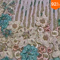 embroidery fabrics tissus quilting fabric stone pearls fancy nancy trailing bride 3D tulle fabric tissu enfant tissus patchwork