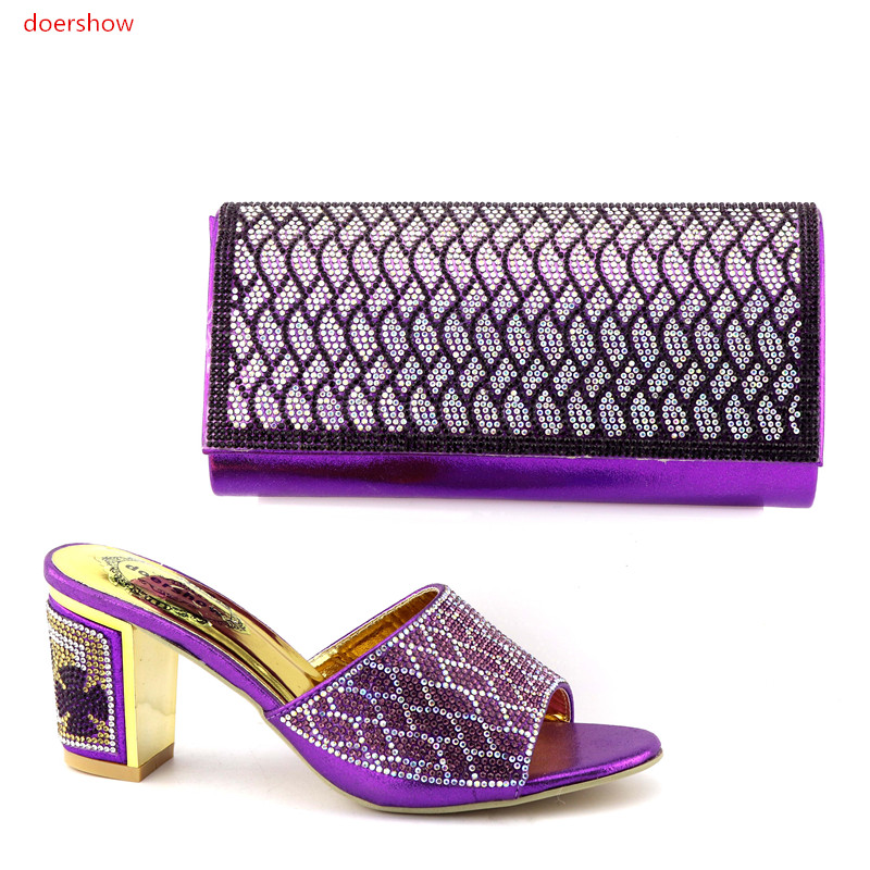 doershow  Italian Shoes and Bags for African Party Nigerian Women Wedding Shoes and Bag Set Decorated with Rhinestone!IO1-9 doershow african shoes and bags fashion italian matching shoes and bag set nigerian high heels for wedding dress puw1 19
