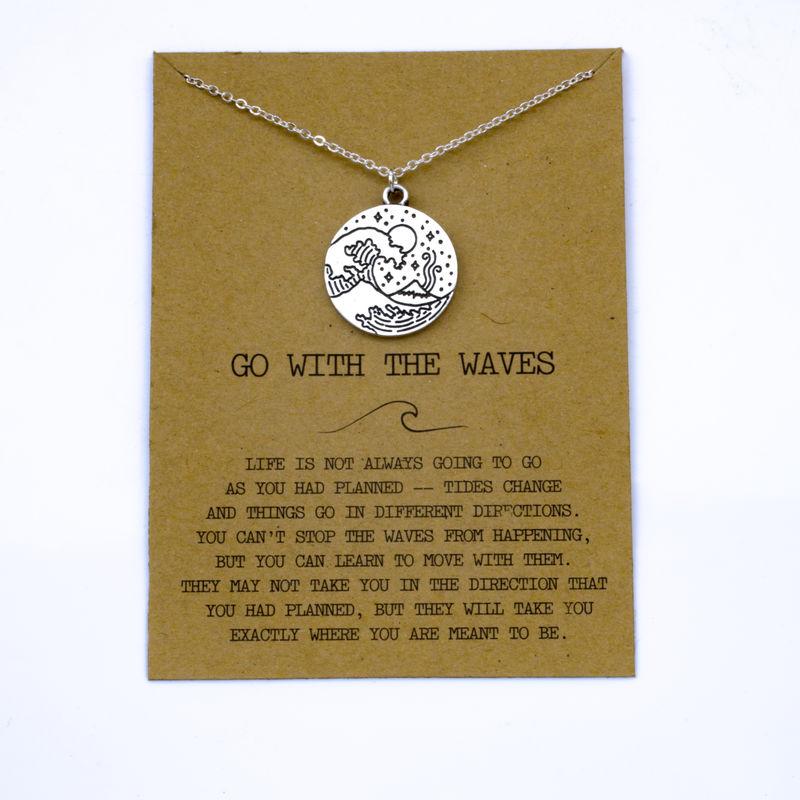 """SanLan 1 шт идут в комплекте ожерелье с подвеской """"волны"""" Океан ювелирные изделия - Окраска металла: 05"""