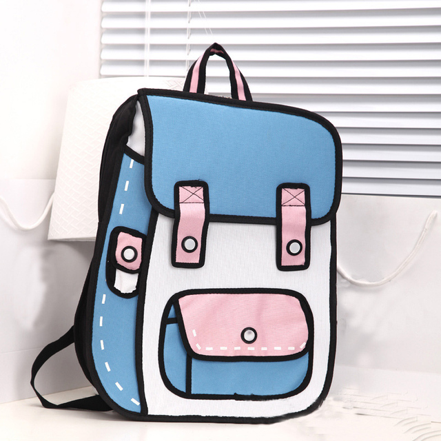 Free Shipping Quadratic Element Cartoon Men Backpack School Bag 3D Style Canvas 2D Drawing Women Backpack Book Bag for Teenager
