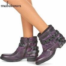 Fashion Purple Handmade Punk Style Women Ankle Boots Genuien Leather Autumn Booties Martin Boot Women Flat Botas Militares
