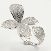 Shinning Lovely Luxury Jewelry 925 Sterling Silver Pave White Clear 5A Cubic Zirconia CZ Wedding Flower Band Ring for Women Gift