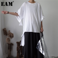 [EAM] 2018 봄 여름 새로운 패션 단색 비대칭 밑단 커프 눈물 짧은 소매 조수 여성 느슨한 캐주얼 TopsYC038