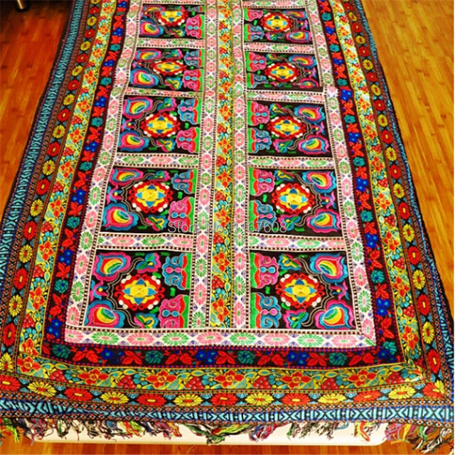 Hand Made Hmong Embroidery Rectangle Tablecloth Cover Round Aquare
