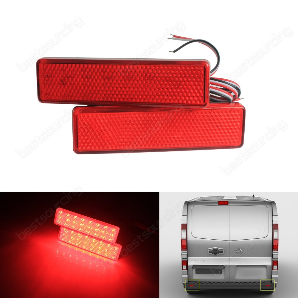 2x LED Rear Bumper Reflector Brake Stop Tail Light For Opel /Vauxhall Vivaro Movano A (CA326) накладка на задний бампер opel vivaro 2001