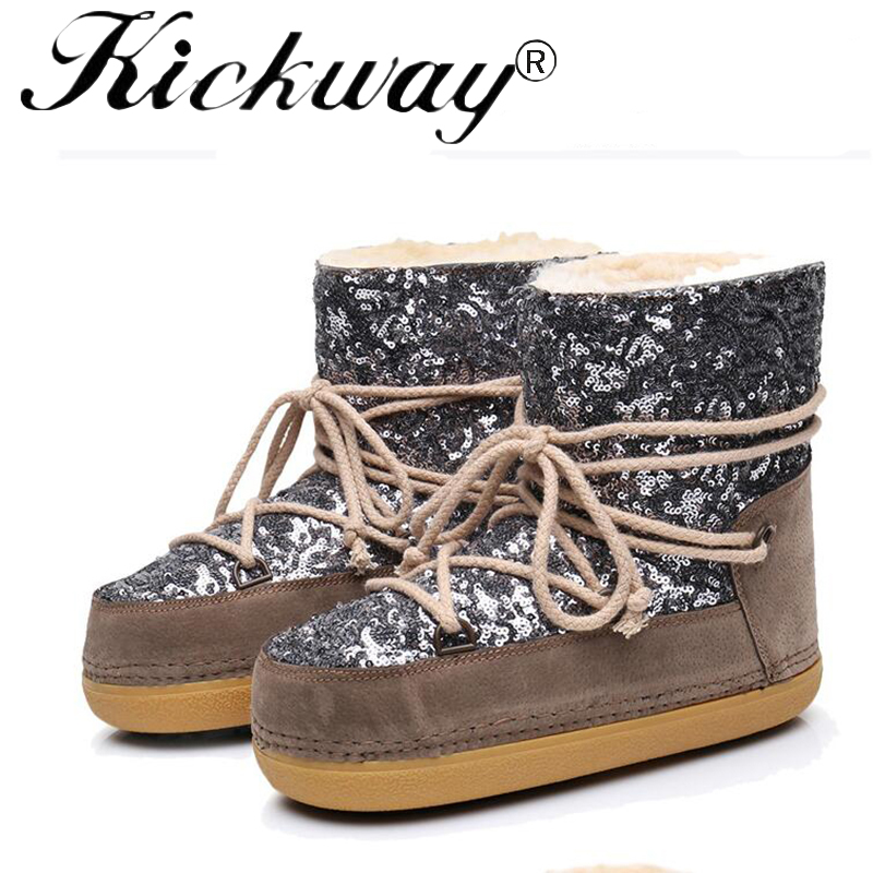 Kickway women snow boots Bling Glitter Women Thick Fur Warm Flat Platform Cotton Sequined Cloth Ankle Boots Winter warm Shoes recoil starter assembly for zenoah gw26i g260 26cc rc boat g290 g300 g320 pu pum puh pull starter assy komatsu part