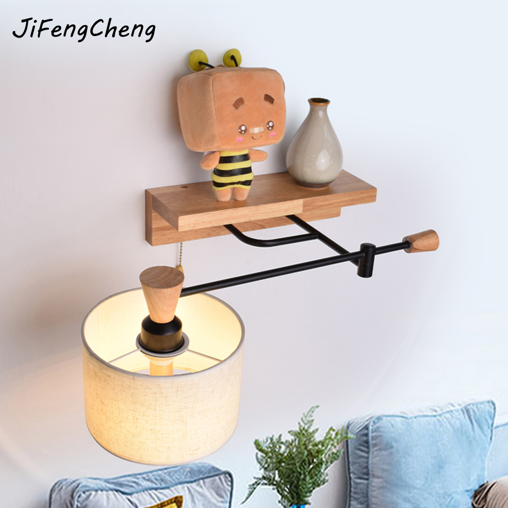 Modern Wooden Simple LED Wall Lamp Personality Bedside Reading Light / Oak Fabric Wall Lamp E27 Interior Lighting Luminaria modern lamp trophy wall lamp wall lamp bed lighting bedside wall lamp
