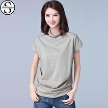 купить Femme 2017 Summer New Cotton T-Shirt Women Tops T Shirt Batwing Sleeve Turtleneck Plus Size Loose Womens Clothing Casual Tshirt по цене 507.37 рублей