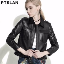 Ptslan 2017 Women Genuine Lambskinleather jacket Full Pelt Coat Real Leather Long Sleeve Coat