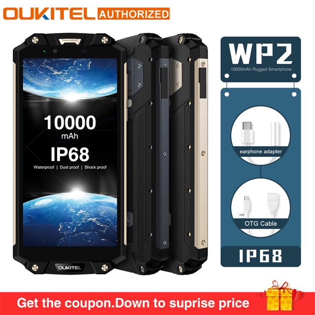 "OUKITEL WP2 IP68 Waterproof Dust Shock Proof Mobile Phone 4G RAM 64G ROM Octa Core 6.0"" 10000mAh Fingerprint Smartphone phablet"