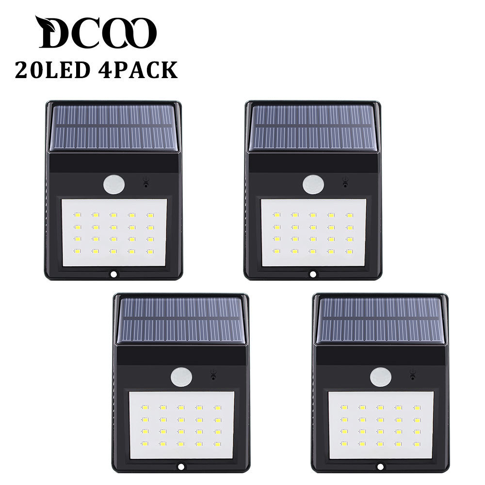 Solar Power Powere Pir Lamp Outdoor 20 LEDs Motion Sensor Outdoor Led Solar Panel Waterproof Garden Wall LED Lamps 4 Pieces