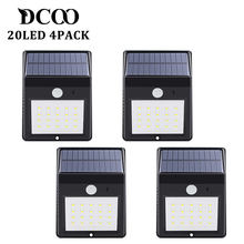 Solar Power Powere Pir Lamp Outdoor 20 LEDs Motion Sensor Outdoor Led Solar Panel Waterproof Garden Wall LED Lamps 4 Pieces(China)