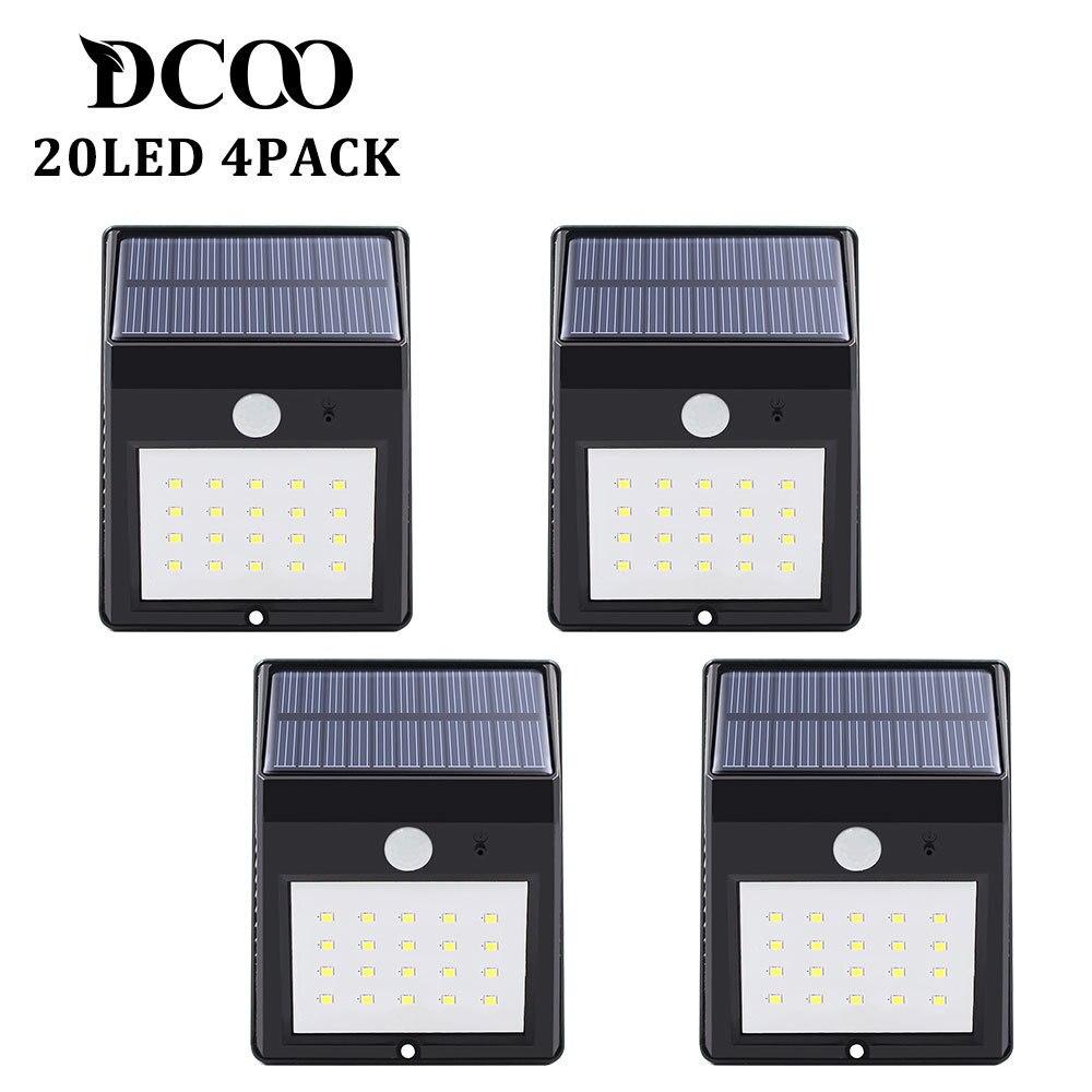 Solar Power Powere Pir Lamp Outdoor 20 LEDs Motion Sensor Outdoor Led Solar Panel Waterproof Garden Wall LED Lamps 4 Pieces