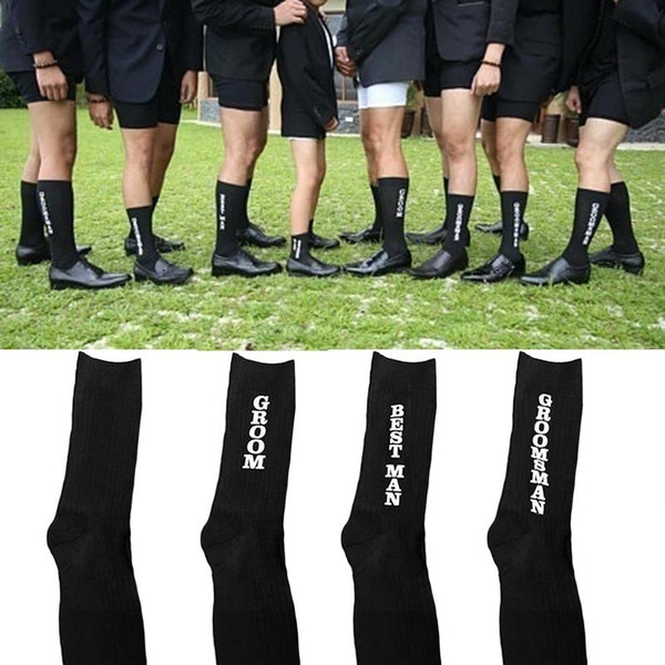 2017 Mens Cotton Knitted Black Sock Print Letters GROOM BEST MAN Crew Party Socks Wedding GROOMSMAN Gift ...