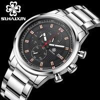 SIHAIXINผู้ชายสหรัฐแฟชั่นหรูหรานาฬิกาสแตนเลสกีฬาผู้ชายนาฬิกากันน้ำใหม่นักบินบุรุษChronographนาฬิกา...