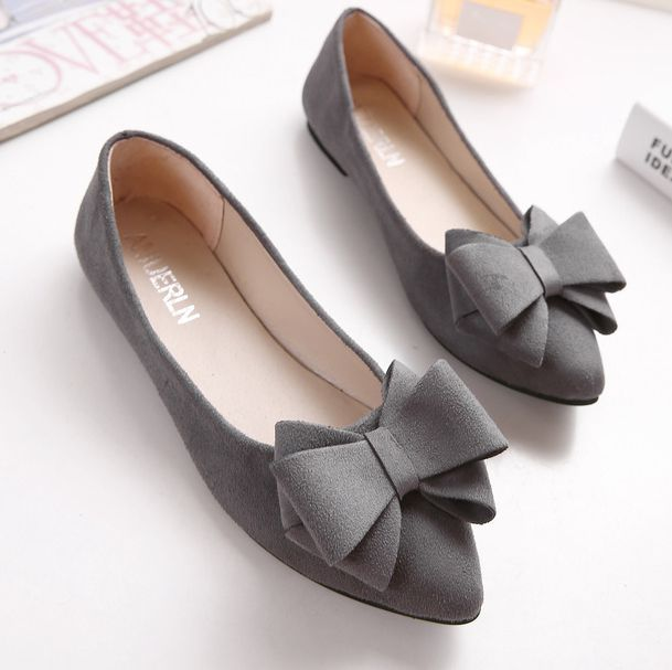 Bow bowtie flats shoes for women Plus sizes flock bowknot pattern poin toes female ladies spring summer flats shoes in discount plus size 34 41 black khaki lace bow flats shoes for womens ds219 fashion round toe bowtie sweet spring summer fall flats shoes
