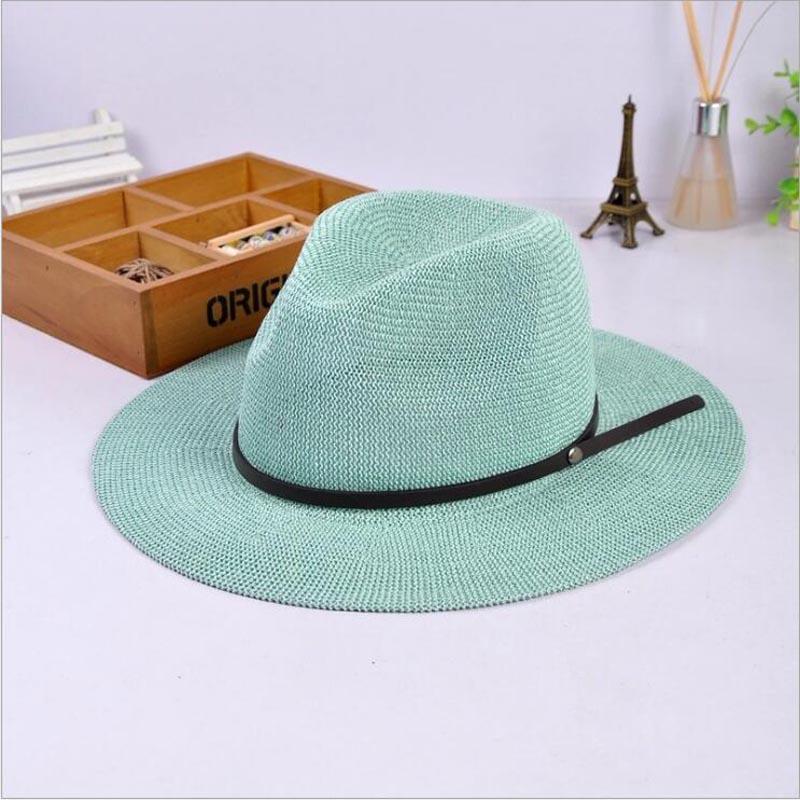 Solid Panama Hat Men Sunhat Women Summer Beach Sun Visor Cap Chapeau Cool Jazz Trilby Cap Sombrero