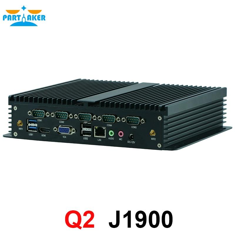 Ubuntu Mini Pc X86 Quad Core J1900 Embedded Fanless Mini Pc 12V Support 1*SIM Card Partaker Q2