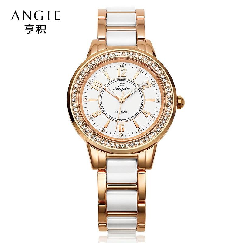 ФОТО Angie Luxury Brand Ceramic Watch Women Dress Diamond Quartz Watch Luminous Gold Brecelet Ladies Watches Clock Relogio Feminino