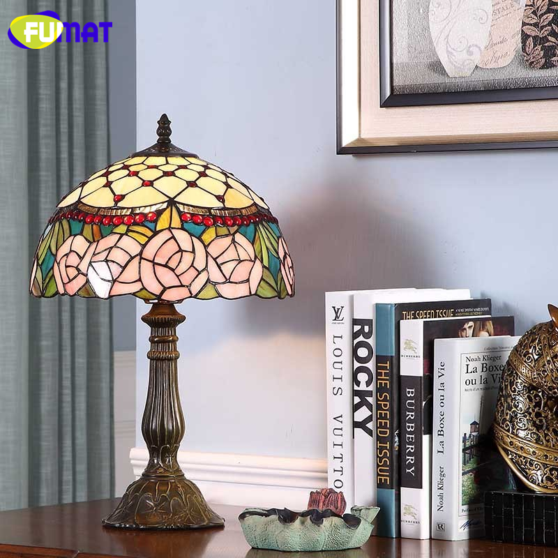 FUMAT Stained Glass Table Lamps Glass desk lamp European-Style Roses Decorative Lights Bar Hotel Bedside Light Fixtures