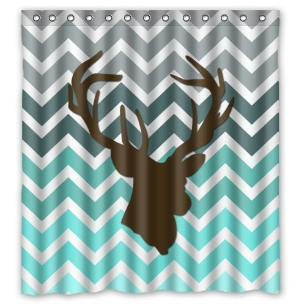 Chevron Deer Head Print Custom Bathroom Curtain Shower Curtains Woman Shadow Waterproof Polyester Fabric In From Home