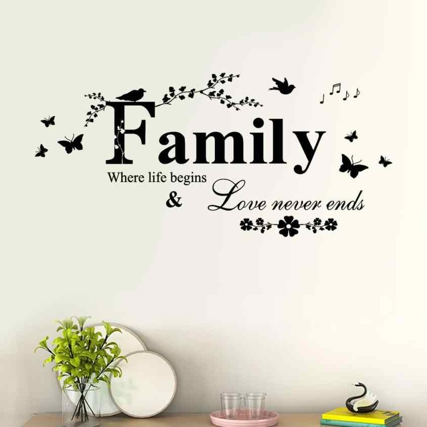 가족 사랑 결코 끝내지 않는다 비닐 벽 전사 술 벽 레터링 예술 단어 벽 스티커 홈 장식 웨딩 장식 거실 801