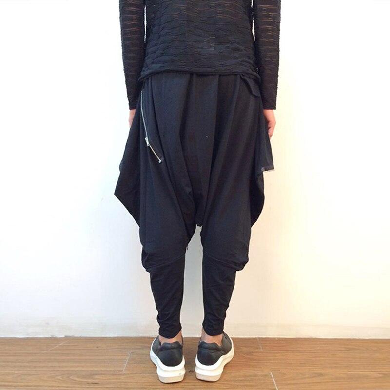 Algodón Sólido Hombres Los 2018 Flojos Negro Nuevo Moda De Pantalones Wycbk Entrepierna Longitud Pantorrilla Verano Ocasionales Gota C7OAq