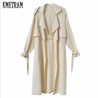 KMETRAM Women's Trench Coat Middle Length Spring Summer 2019 New Fashion Loose Long Sleeve Clothes Women's Windbreaker HH965