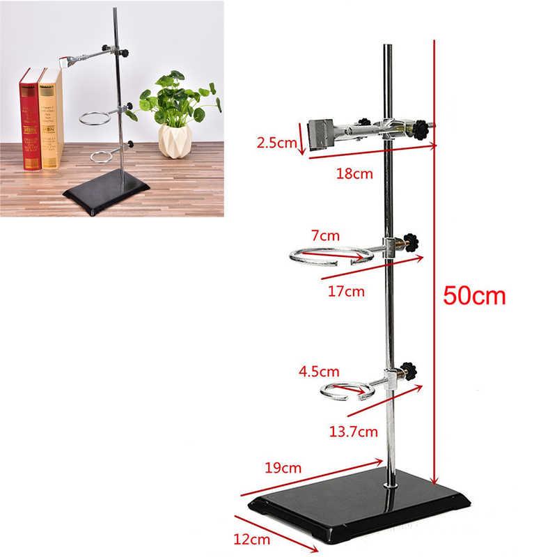 Wysoki stojak retortowy stojak żelazny 50CM z zaciskiem klips laboratoryjny stojak pierścieniowy edukacja szkolna dostarcza sprzęt edukacyjny
