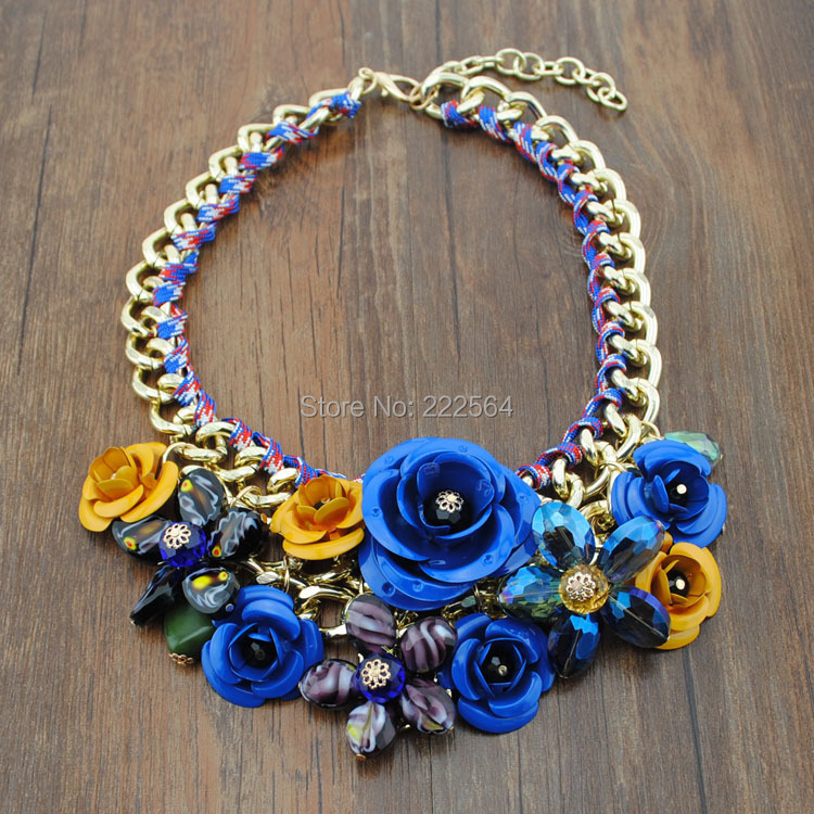 2014 Top Sell Accessories Gold Chain Spray Paint Metal Flower