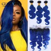 Guanyuhair 1B/синий Ombre 3 Связки с закрытием кружева фронтальной 13X4 перуанский Remy Волна натуральные волосы ткань с темные корни