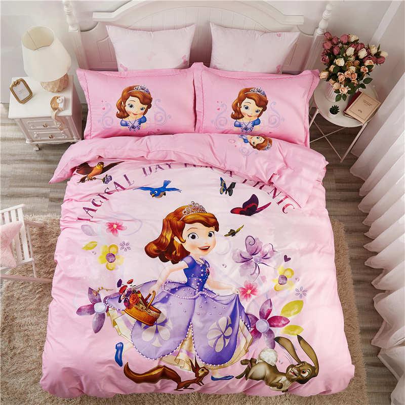 3d rose disney sofia princesse ensemble de literie fille chambre décor linge de lit enfant simple jumeau pleine reine taille literie coton 3/4/5pc