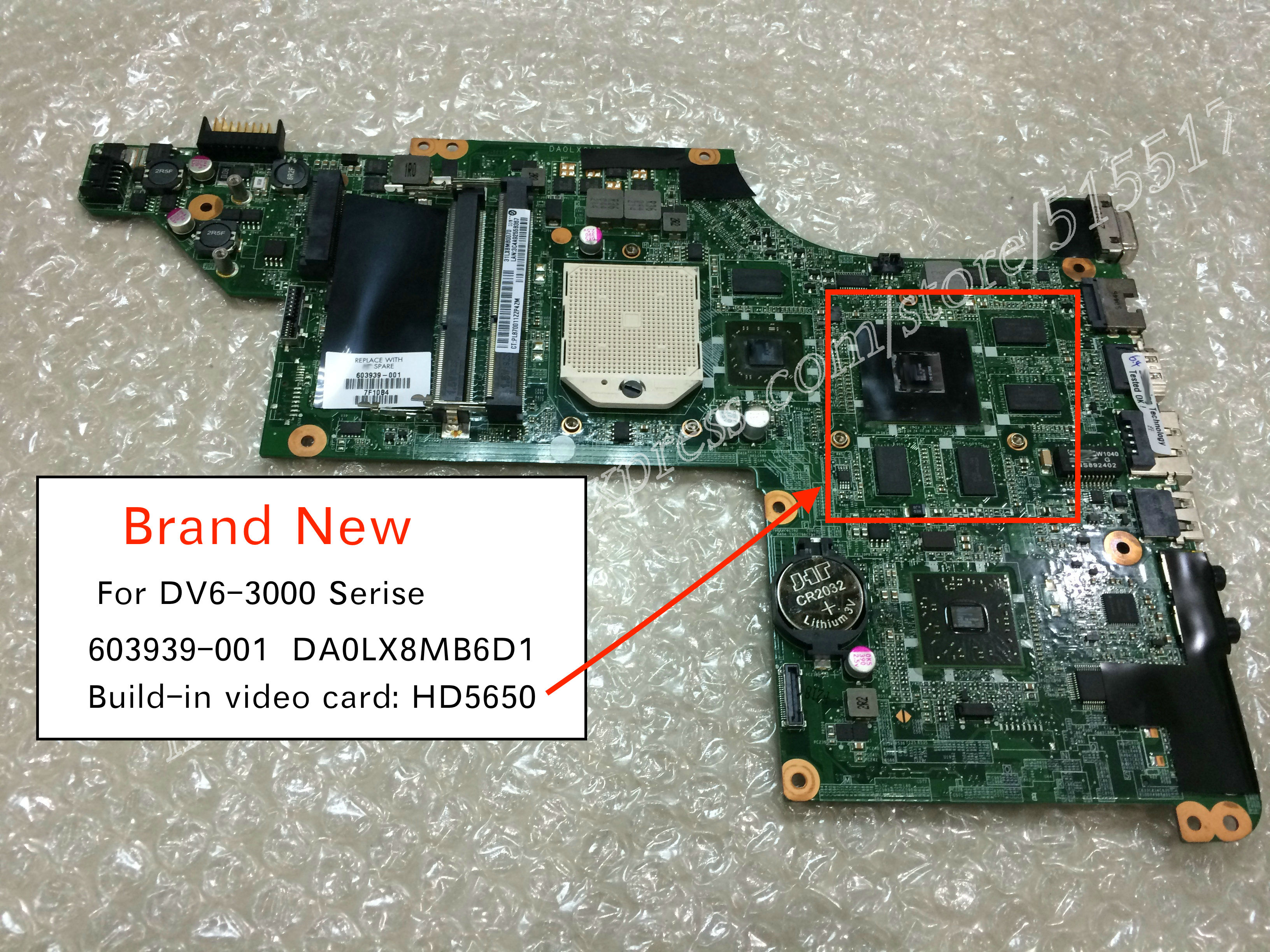 603939-001 632103-003 DA0LX8MB6D1 FOR HP PAVILION DV6 DV6-3000 LAPTOP MOTHERBOARD HD 5650 Graphics