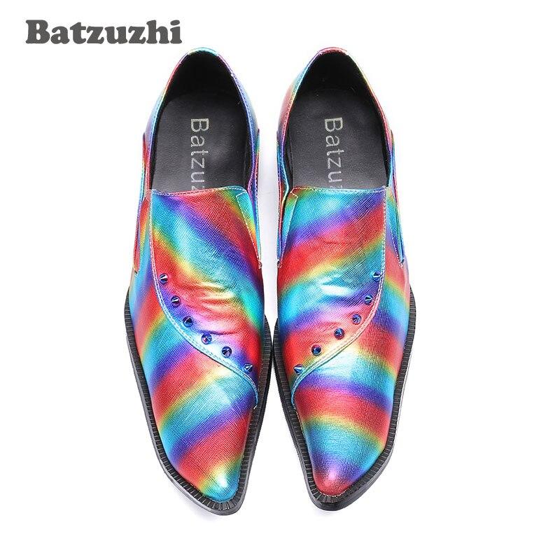 Batzuzhi 6 5 Alto Color Con Zapatos Tacón Del Multiple Brillante Muti Partido Moda Remaches Cuero Hombre Cm Hombres Boda Para nX7PqXZr