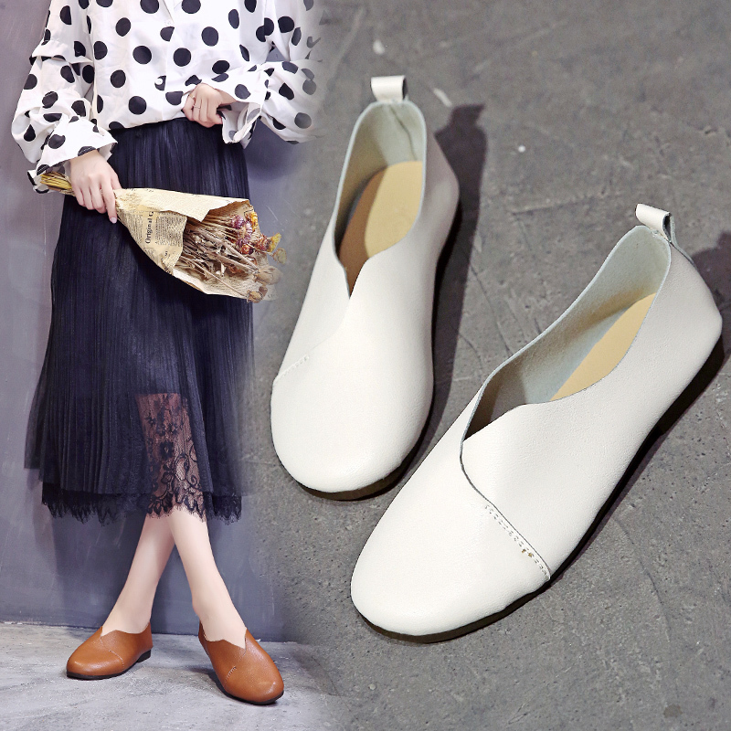 Vintage Ladies Slip On Flat Shoes Woman Loafers Women Shoes White Yellow Leather Comfort ballet flats sapatos mocassin femme in Women 39 s Flats from Shoes