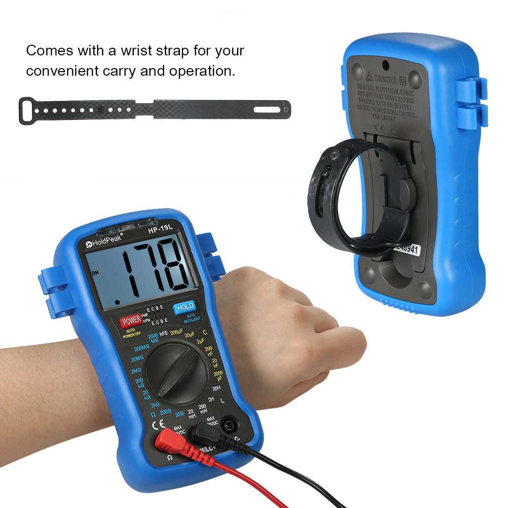Kkmoon LCD الرقمية مقياس قدرة دائرة التوالي متعدد المقاومة السعة الحث الترانزستور hFE اختبار السعة اختبار + شريط للرسغ