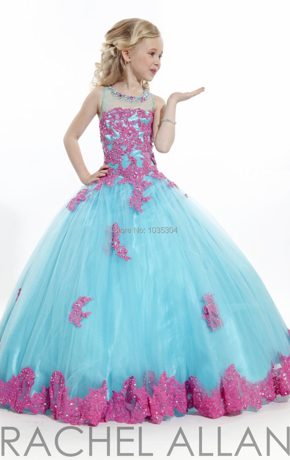 Ball gown prom dresses 2014 -  M1235 Ball Gown Scoop Applique Crystal Floor Length Girls Pageant Dresses Formal Kids Party Prom Gowns