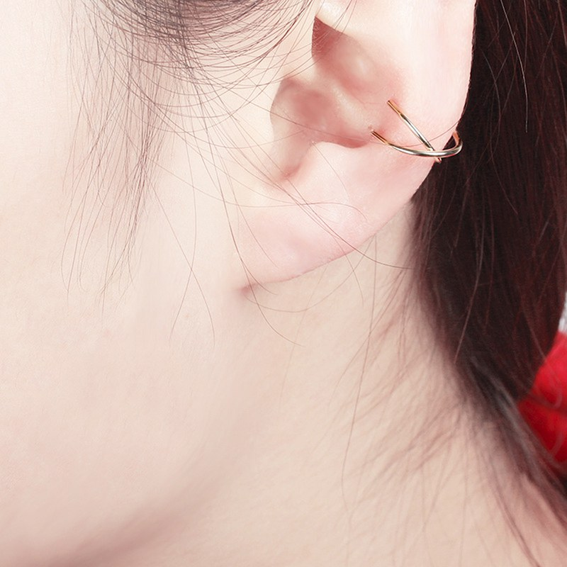 Fashion Clip-on Earrings Temperament Simple Cross Ear Clip Personality Cartilage Earring(China)