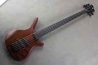 Factory Custom High quality one piece set neck Through body bass 5 string brown W Thumb bass guitar Free shipping 14 11 11