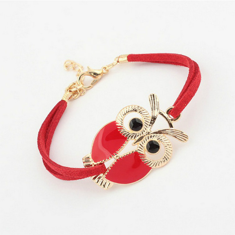 2017 Korean Version Of The New High quality New Fashion Retro Bracelet Owl Decorated Artificial Leather