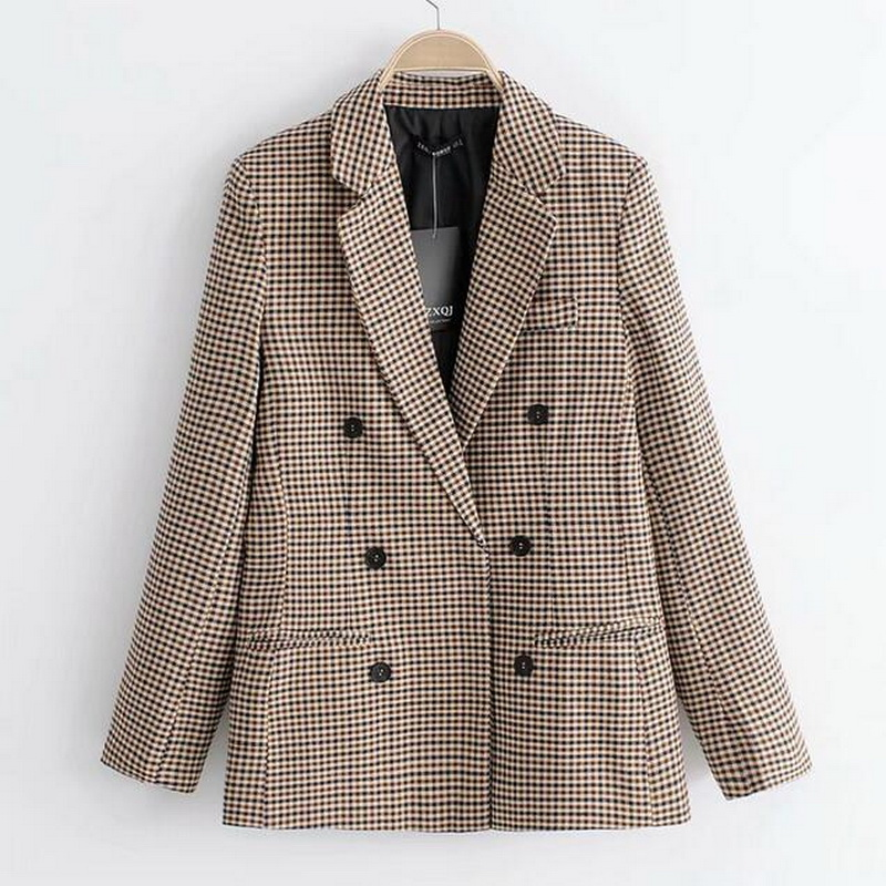 2019 Formal Jacket Office Suit Lady Outerwear Fashion Blazers Women Plaid Blazer Long Sleeve Double Breasted Slim Checked Coat Rich In Poetic And Pictorial Splendor