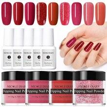 NICOLE DIARY Polvo de uñas para inmersión en polvo, de 10g serie roja, brillo luminoso de uñas, arte seco Natural, decoración cromada