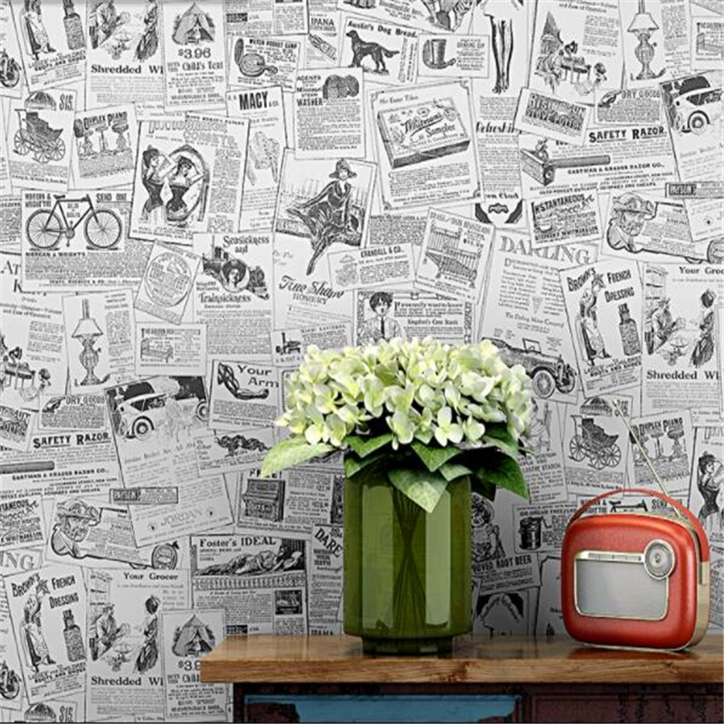 Poster Wallpaper English Alphabet Retro Vintage Personality Fashion Shop Decoration Clothing Store Study Old Newspaper Wallpaper цена